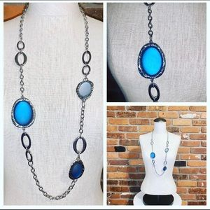 NWT Chicos Silver Plated Blue Long Necklace